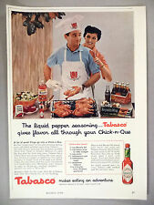 "Tabasco Hot Sauce PRINT AD - 1958 ~~ ""Chick-n-Que Sauce"" recipe"