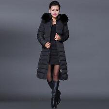 Lady Winter Plus Size Duck Down Coat Hooded Warm Fur Parka Long Jacket Outerwear