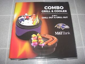 Baltimore Ravens 2018 M&T Bank COMBO GRILL & COOLER BRAND NEW Tailgate 2-in-1