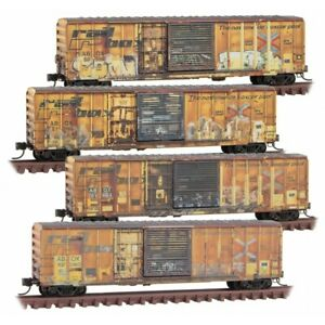 N Scale - MICRO-TRAINS LINE 993 05 910 RAILBOX Boxcars Weathered - 4 Pack