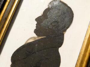 Antique 19th Portrait Silhouette Miniature GENTLEMAN Blk & Gilt Rect Wood Frame