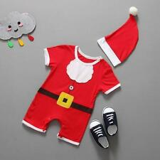 @Kids Toddler Infant Boys Girls Cute Christmas Romper+Hat Outfits Clothes 95