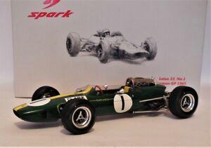 1/18 Spark 18S067 Lotus 33 # 1 Jim Clark Winner German GP 1965 World Champion