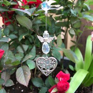 New Hanging Sun Catcher Guardian Angel and Heart ~ Memorial Mum Dad Nan Grandad
