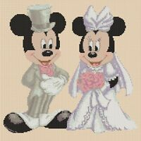 Disney Cross stitch chart  mickey mouse & minnies wedding lilac flowerpower37-uk