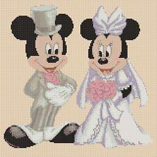 DISNEY cross stitch chart Mickey Mouse & Minnies Matrimonio Lilla Flowerpower 37-uk