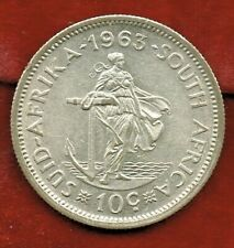 SOUTH AFRICA 1963  10 CENTS  SILVER  MINTAGE 3,327,000