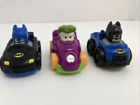 Fisher Price Wheelies Cars Little People Super Hero Two Batman Cars and Joker