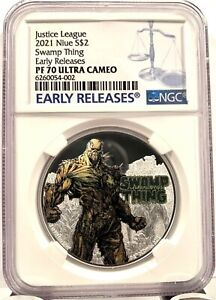 2021 Niue DC Justice League Swamp Thing 50th Ann. 1 oz Silver Coin - NGC PF 70