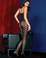 Sultry Bed Play Lingerie Bodystocking Sexy Wavy Crotchless Bodies Bodysuit 6-12