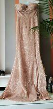 Club L Asos Gold Sequin Fishtail Split Leg Strapless Gown Evening Maxi Dress 8