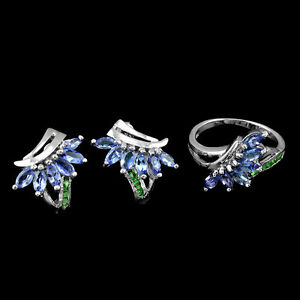 925 Sterling Silver Natural Tanzanite Tsavorite Gemstone Earring Ring 6.75 US