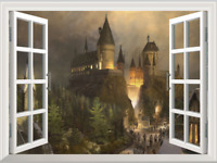 3D Window Harry Potter Hogwarts School Wall Stickers Magic Castle Kid Room Decor