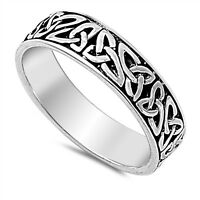 Sterling Silver 925 PRETTY OXIDIZED CELTIC DESIGN SILVER BAND RING SIZES 5-14