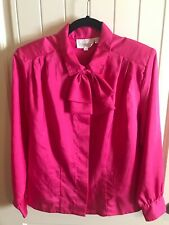 Shapely Vintage Women  Hot Pink Blouse Pussy Bow long sleeve shirt size 10