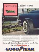 1953 Good year PRINT AD Tires Lake Scene Great Vintage Decor for Garage Office