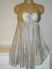 Express gray silver zebra striped 95% silk strapless tunic top dress layered-0