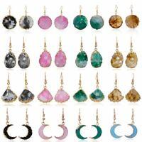 Charm Women Boho Geometric Natural Stone Resin Ear Hook Earrings Dangle Jewelry