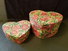 2 Vintage Heart Shaped Nesting Boxes Paper Mache Green Pink Roses