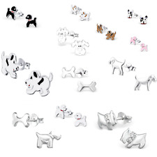 925 Sterling silver childrens dog stud earrings poodle doggy animal pet paw