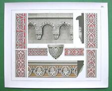 GERMANY Romanesque Ornaments Churches - COLOR Litho Antique Print SCARCE