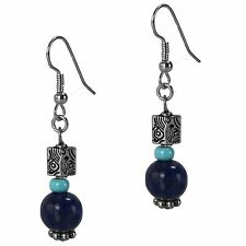 Dangle Beaded Drop Fashion Earrings Blue Lapis & Turquoise Silver Antique Style