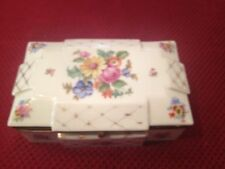 beautiful   vintage  floral porelain box with brass hardware fbs czechoslovaka
