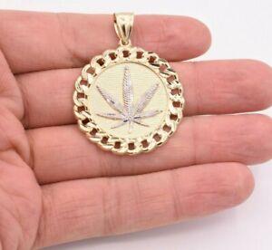 "1 3/4"" Marijuana Leaf Miami Cuban Medallion Pendant Real 10K Yellow White Gold"