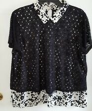 NWOT Elle Women's Black/White Short Sleeve Blouse w/ Black Net Overlay Size XL