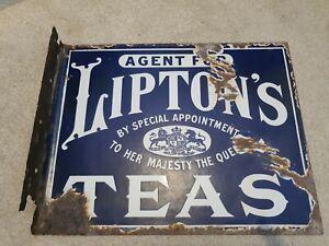Liptons Tea Enamel Advertising Sign Double Sided 1905-1910