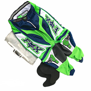 Fox Racing 360 Motorsports Pants Size 28 Lime Green Blue White With Pads New NWT