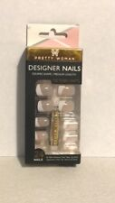 PRETTY WOMAN Nail Kit 24PC French Manicure with Fun Silver Glitter Stripe MED.