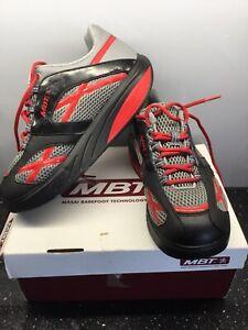 MBT Grey,Black Red Textile Upper Toning Curved Sole Shoes Size UK6.5