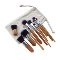 11Pcs Brush Set Bamboo Handle Synthetic Hair Eye Shadow Makeup Kabuki Cosmetic