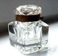 LARGE ANTIQUE CUT GLASS INKWELL-FOLIATE ENGRAVED BRASS COLLAR    %.