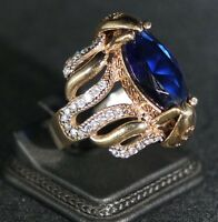 925 Sterling Silver Handmade Antique Turkish Sapphire Ladies Ring Size 7-10