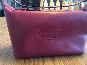 COACH Red Leather Small Top Zipper Handle Bag Handbag Purse F40572 Very Nice!!