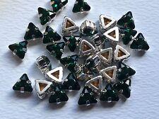 Swarovski #4722 vintage triángulo Coser 6mm x6 Verde Esmeralda Artesanía Post Gratis