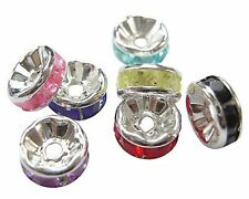 100 x Gorgeous Multi-Colour Mix Rhinestone Spacer Beads 8mm ~ lady-muck1
