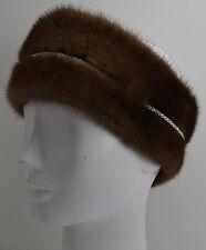 Real Demi Buff Mink Fur Headband with Rhinestones Brown (made in the U.S.A.)