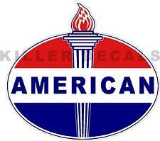 "(AMER-1) 4"" OLD AMERICAN TORCH GAS PUMP OIL TANK DECAL amoco"