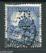 HONGRIE 1926, timbre PERFORE 385, CATHEDRALE ST MATHIAS, oblitéré, perfin stamp