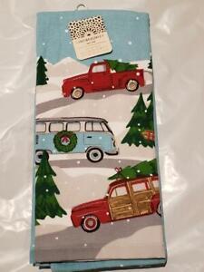 "NWT Cynthia Rowley Blue Christmas Cars and Tree 18""x28"" Kitchen Towels Christmas"