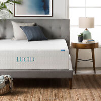 LUCID 14 Inch Triple-Layer Gel Memory Foam Mattress - Twin Full Queen King