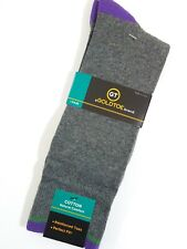 Gold Toe Men's Socks Crew Gray & Purple Cotton Blend Size L 6-12.5