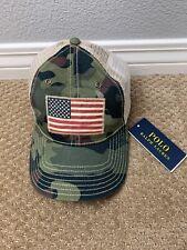 Polo Ralph Lauren Camo USA Flag Trucker Hat Cap NWT