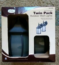 Patriot Lighting Diecast Aluminum Twin Pack Outdoor Wall Lights NIB Black Finish