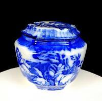 "BLAKENEY IRONSTONE STAFFORDSHIRE BLUE ROSE FLORAL 5 3/4""LIDDED JAR 1968-1999"