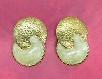Vintage Earrings Clip On Beige Enamel Embossed Gold Tone