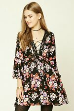 NWT Forever 21 Lace Up Floral Print Mini Dress Medium
